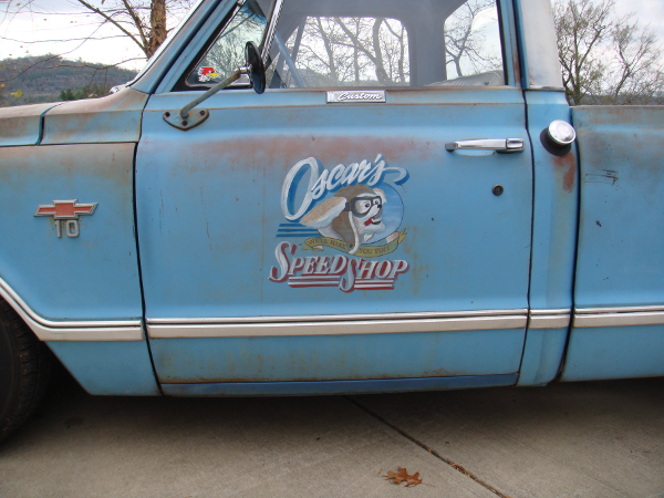 Hand lettering on a rat rod truck in east tennesse usa